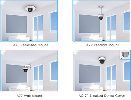 A78 Recessed Mount, A79 Pendant Mount, A77 Wall Mount, AC-71 Smoked Dome Cover of mini ptz bullet camera
